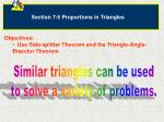 Section 7-5 Proportions in Triangles