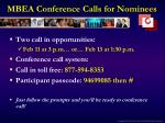 MBEA Conference Calls for Nominees