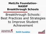 MetLife Foundation-NASSP Breakthrough Schools