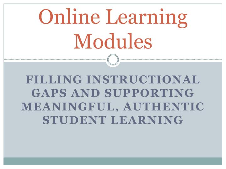 online learning modules n.
