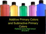 Additive Primary Colors and Subtractive Primary Colors
