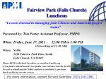 Fairview Park (Falls Church) Luncheon
