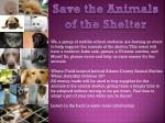 Save the Animals of the Shelter