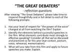 """THE GREAT DEBATERS"" - reflection questions"