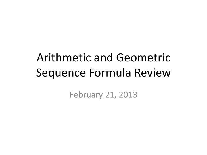 arithmetic and geometric sequence formula review n.