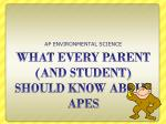WHAT EVERY PARENT (AND STUDENT) SHOULD KNOW ABOUT APES