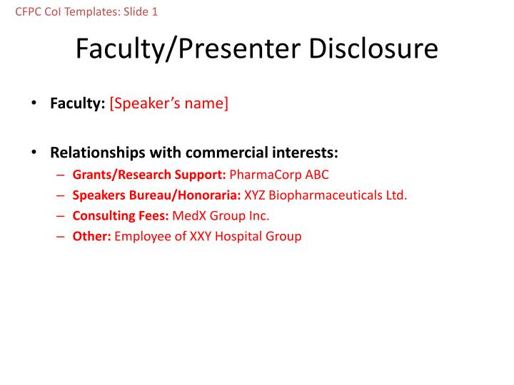 PPT - Faculty/Presenter Disclosure PowerPoint Presentation