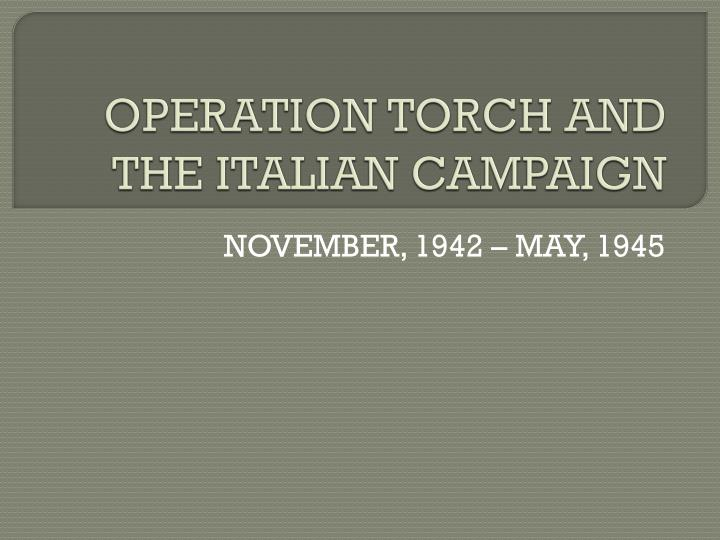 operation torch and the italian campaign n.