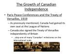 The Growth of Canadian Independence