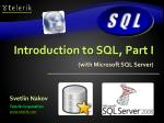 Introduction to SQL, Part I