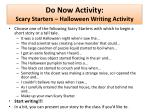 Do Now Activity: Scary Starters – Halloween Writing Activity