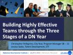 Building Highly Effective Teams through the Three Stages of a DN Year
