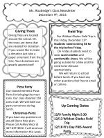 Ms. Routledge's Class Newsletter December 9 th , 2013