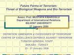 DEFINITION, DIMENSION & CATEGORIES OF TERRORISM CENTRE OF EXCELLENCE DEFENCE AGAINST TERRORISM