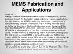 MEMS Fabrication and Applications