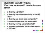 DIVERSITY MATURITY QUIZ:   What have we learned?  How far have we come?