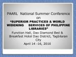 PAARL  National Summer Conference on