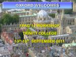 OXFORD WELCOMES