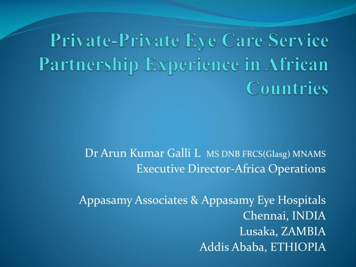 private private eye care service partnership experience in african countries n.