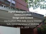 Digital Strategies for Health Communication Design and Content