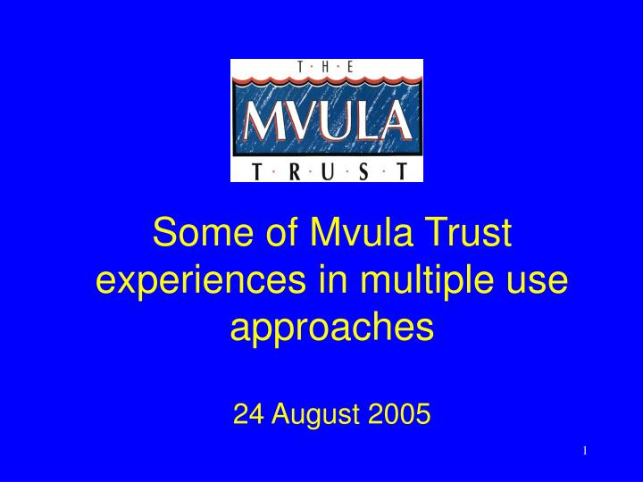 some of mvula trust experiences in multiple use approaches 24 august 2005 n.