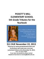 This is a sample of a fifth grade ad for Pickett's Mill Elementary School.