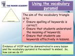 Using the vocabulary pyramid