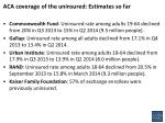 ACA coverage of the uninsured: Estimates so far
