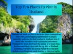 Top Ten Places To visit in Thailand