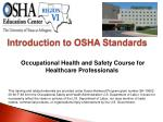 Occupational Health and Safety Course for Healthcare Professionals
