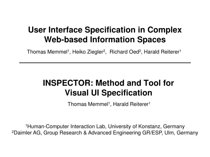 user interface specification in complex web based information spaces n.