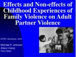 Effects and Non-effects of Childhood Experiences of Family Violence on Adult Partner Violence