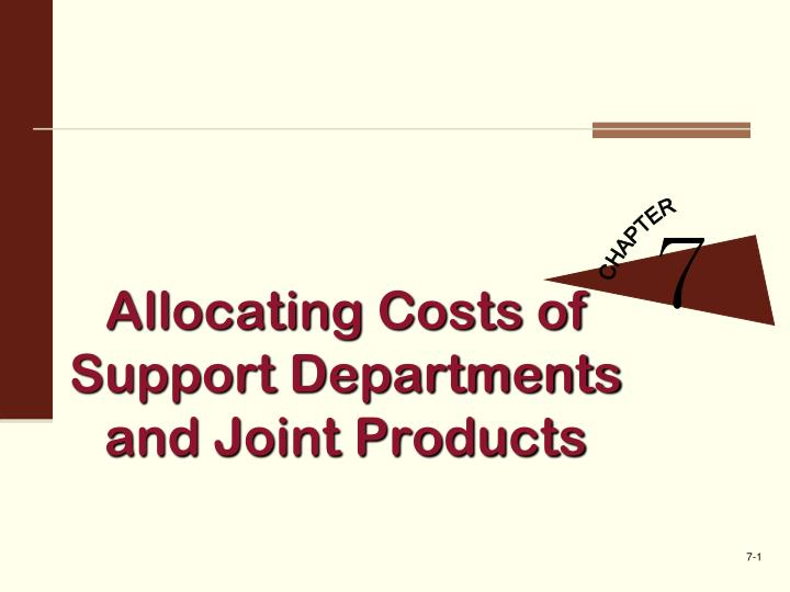 allocating costs of support departments and joint products n.