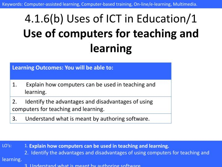 4 1 6 b uses of ict in education 1 use of computers for teaching and learning n.