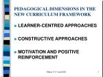 PEDAGOGICAL DIMENSIONS IN THE NEW CURRICULUM FRAMEWORK