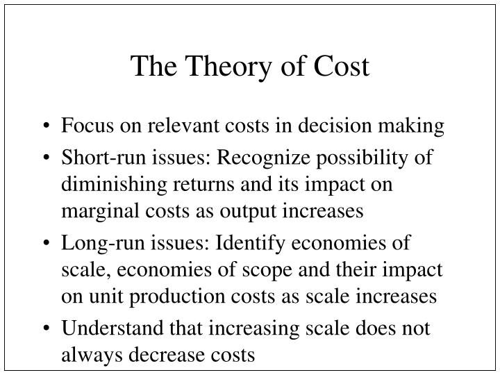 the theory of cost n.