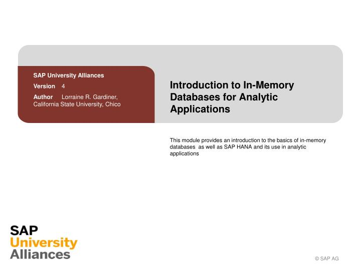 introduction to in memory databases for analytic applications n.