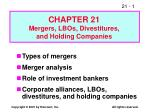 Types of mergers Merger analysis Role of investment bankers