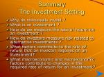 Summary The Investment Setting