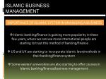 IMPORTANCE OF ISLAMIC SYSTEM IN MANAGING A BUSINESS