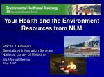 Your Health and the Environment Resources from NLM