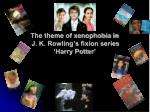 The theme of xenophobia in J. K. Rowling's fixion series 'Harry Potter'
