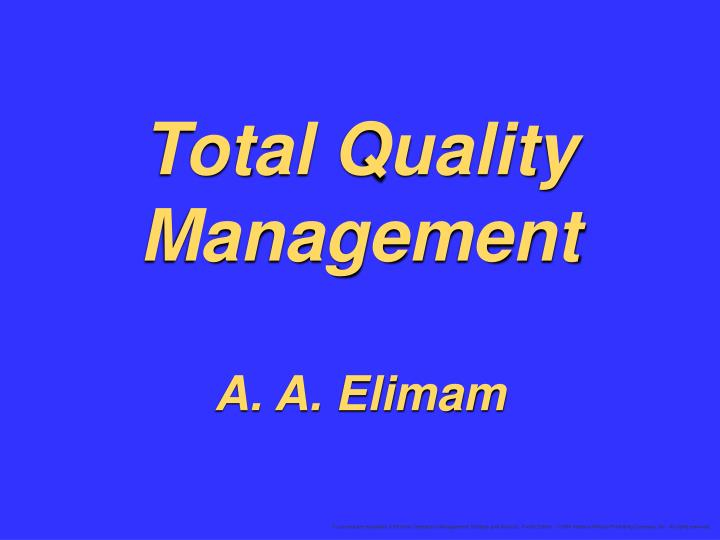 total quality management a a elimam n.