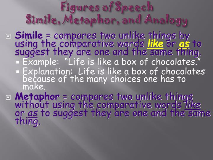 figures of speech simile metaphor and analogy n.