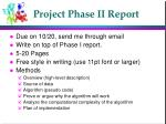 Project Phase II Report