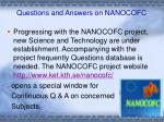 Questions and Answers on NANOCOFC