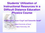 Students' Utilization of Instructional Resources in a Difficult Distance Education Physics Course