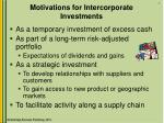 Motivations for Intercorporate Investments