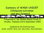 Summary of WABA-UNICEF Colloquium outcomes and way forward
