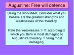Augustine: Free will defence